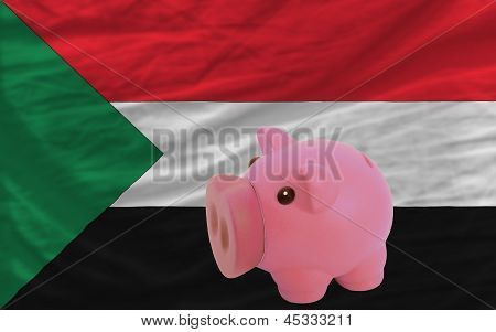 Piggy Rich Bank And  National Flag Of Sudan