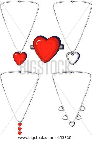 Heart Necklaces And Broach