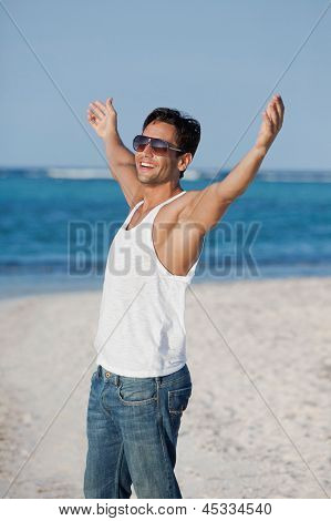 Man enjoying on the beach