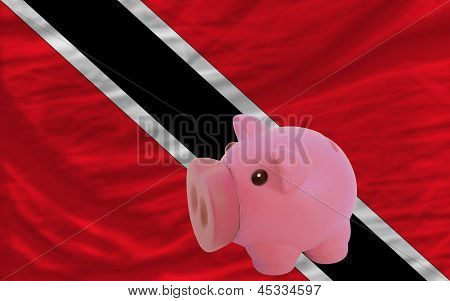 Piggy Rich Bank And  National Flag Of Trinidad Tobago