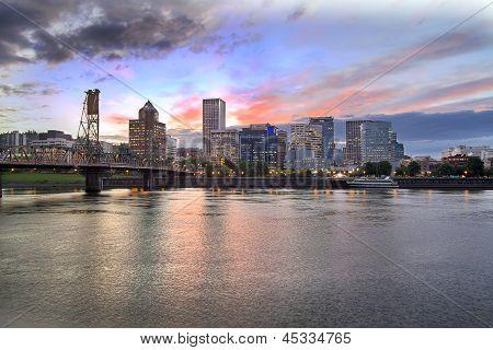 Portland Oregon Skyline At Sunset