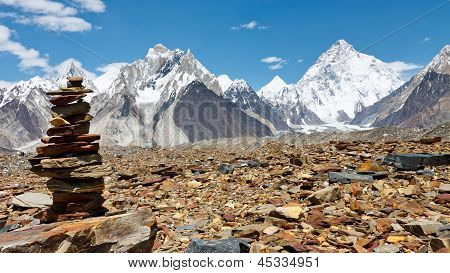 Cairn In The Karakorum Mountains, Pakistan