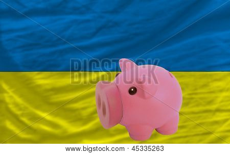 Piggy Rich Bank And  National Flag Of Ukraine