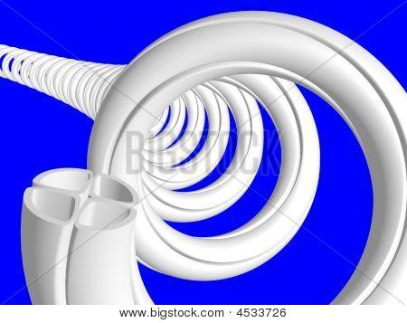 Spiral vier Sektor in Abschnitt Rohr