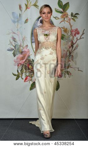 NEW YORK - APRIL 22: A Model poses for Claire Pettibone bridal presentation