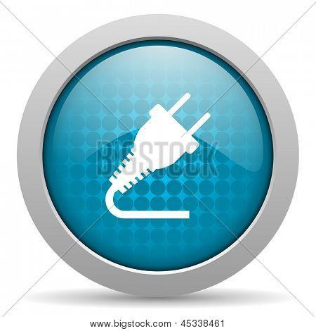 plug blue circle web glossy icon