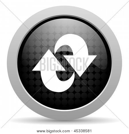 rotate black circle web glossy icon