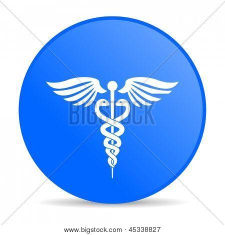 icono brillante de caduceo círculo azul web