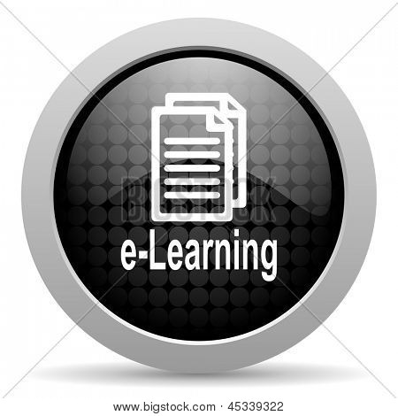 e-learning black circle web glossy icon