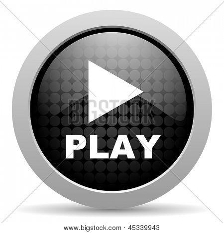 play black circle web glossy icon
