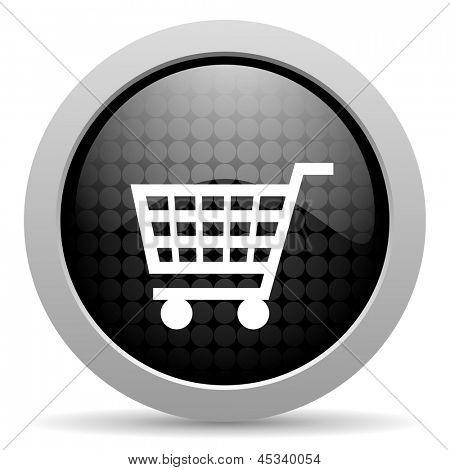 shopping cart black circle web glossy icon
