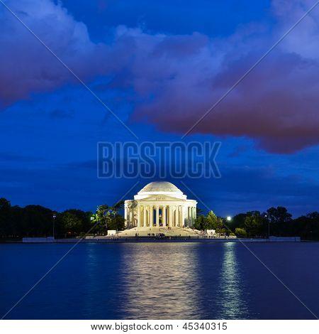 Washington DC, Thomas Jefferson Memorial at night with dramatic sky - United States