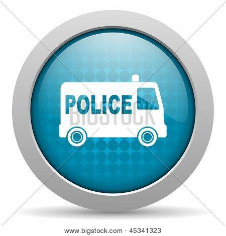 police blue circle web glossy icon