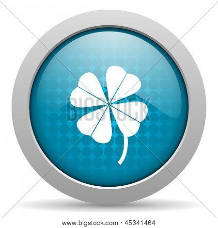four-leaf clover blue circle web glossy icon