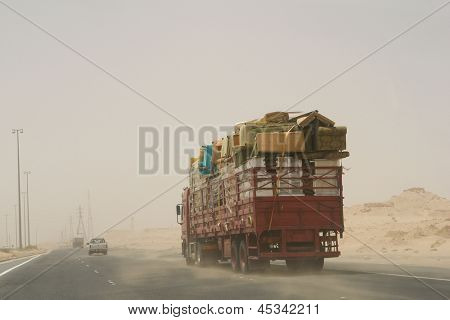 Sand storm in desert road -  Photo taken near to Iraq and Kuwait border