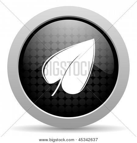 leaf black circle web glossy icon
