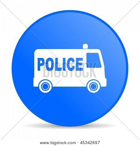 police blue circle web glossy icon