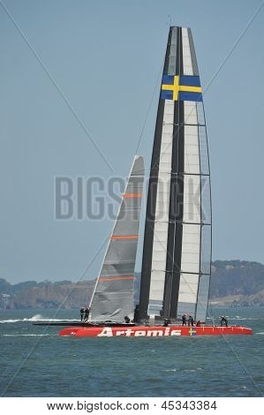 America's Cup Boat Artemis And Crew Including Andrew Simpson