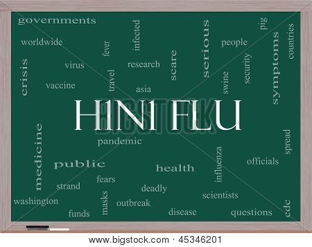 H1N1 Flu Word Cloud Concept On A Blackboard