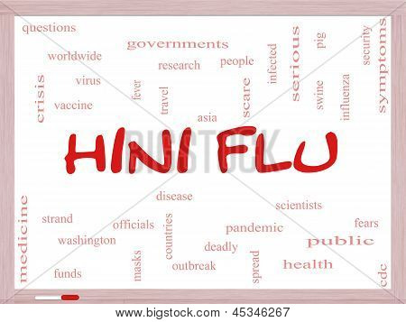 H1N1 Flu Word Cloud Concept On A Whiteboard