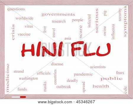 H1N1 Flu Word Cloud Concept On A Whiteboard