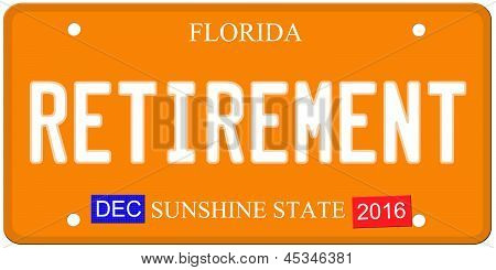 Retirement Florida License Plate