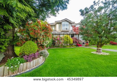 Fragment of a nice house with gorgeous outdoor landscape in Vancouver, Canada.