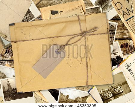 Old envelope with label and retro photos