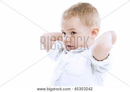 Handsome Small Boy With Raised Arms