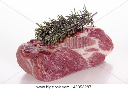 Raw Pork Neck With Rosemary