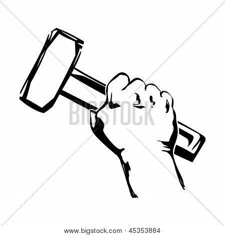 Ilustración de martillo de mano