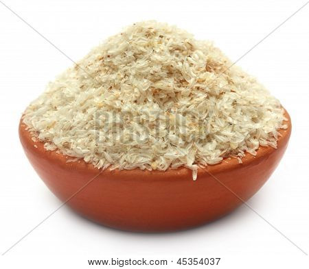 Medicinal Isabgol or psyllium husks on a clay pot