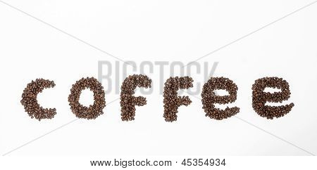 Coffee form with beans