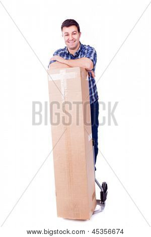 Young man standing with a cardboard box, isolated on white background