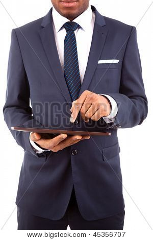 Business man working on a digital tablet, isolated on white background