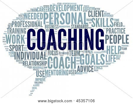 Coaching concept related words in tag cloud isolated on white