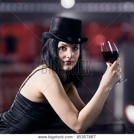 Beautiful Woman  With Red Wine