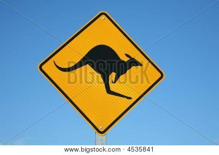 A Kangaroo Warning Sign Australia With Blue Sky Background