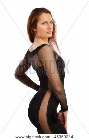 Woman In The Cocktail Dress With Transparent Insets