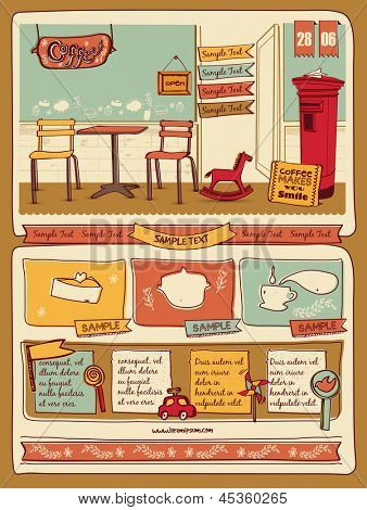 Retro style cafe elements 4