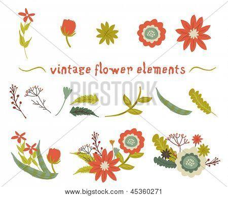 Vintage flower elements