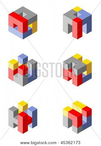 Cubical icons made with blocks