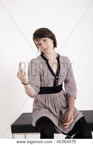 Protest Young Brunette Woman With Her Finger Up