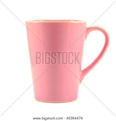 Pink Coffee Cup On White Background