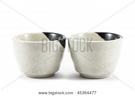 Ceramic Teacups On White Background