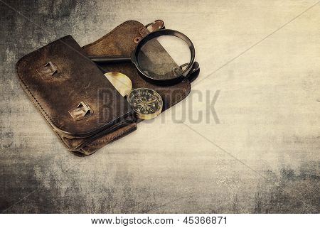 Vintage Background , Wallet And Compass