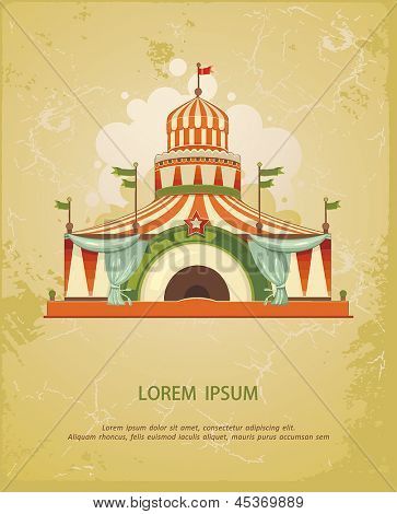 Circus Entertainment Tent. Frame with circus tent with space for text. Decoration vector illustration