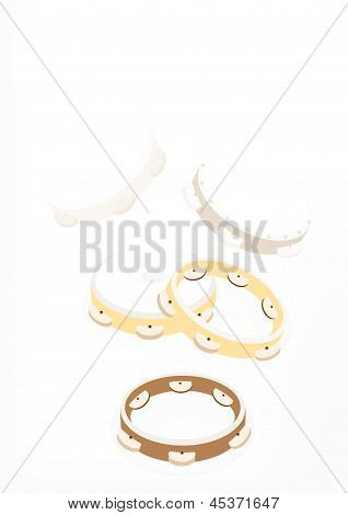Beautiful Three Tambourine On Brown Stage Background