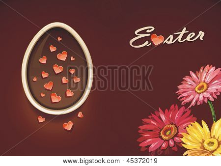 Elegance Easter simnel cake with hearts. Detailed vector illustration. Abstract background.