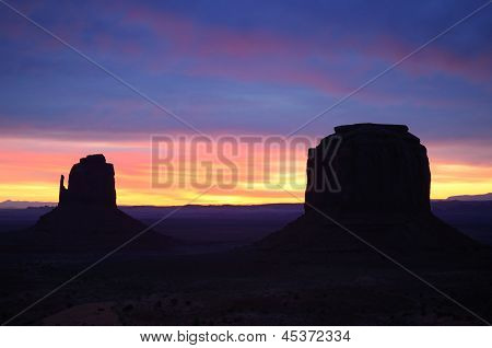 East Mitten And Merrick Buttes Sunrise, Monument Valley